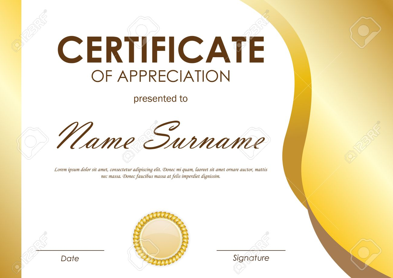 Certificate Of Appreciation Template With Gold Wavy Curved Light