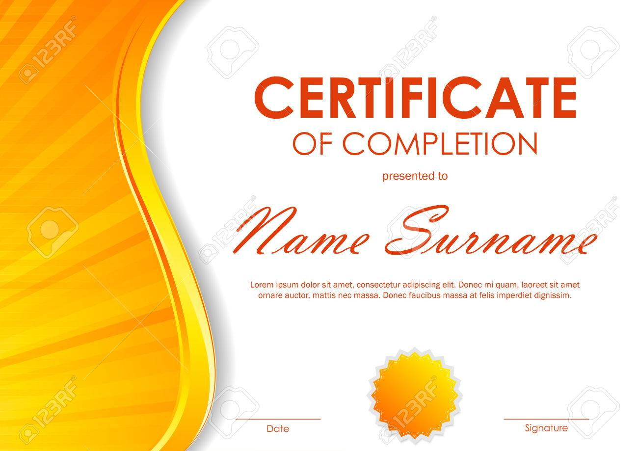 Certificate of completion template with dynamic orange light certificate of completion template with dynamic orange light wavy swirl background and seal vector illustration yadclub Images