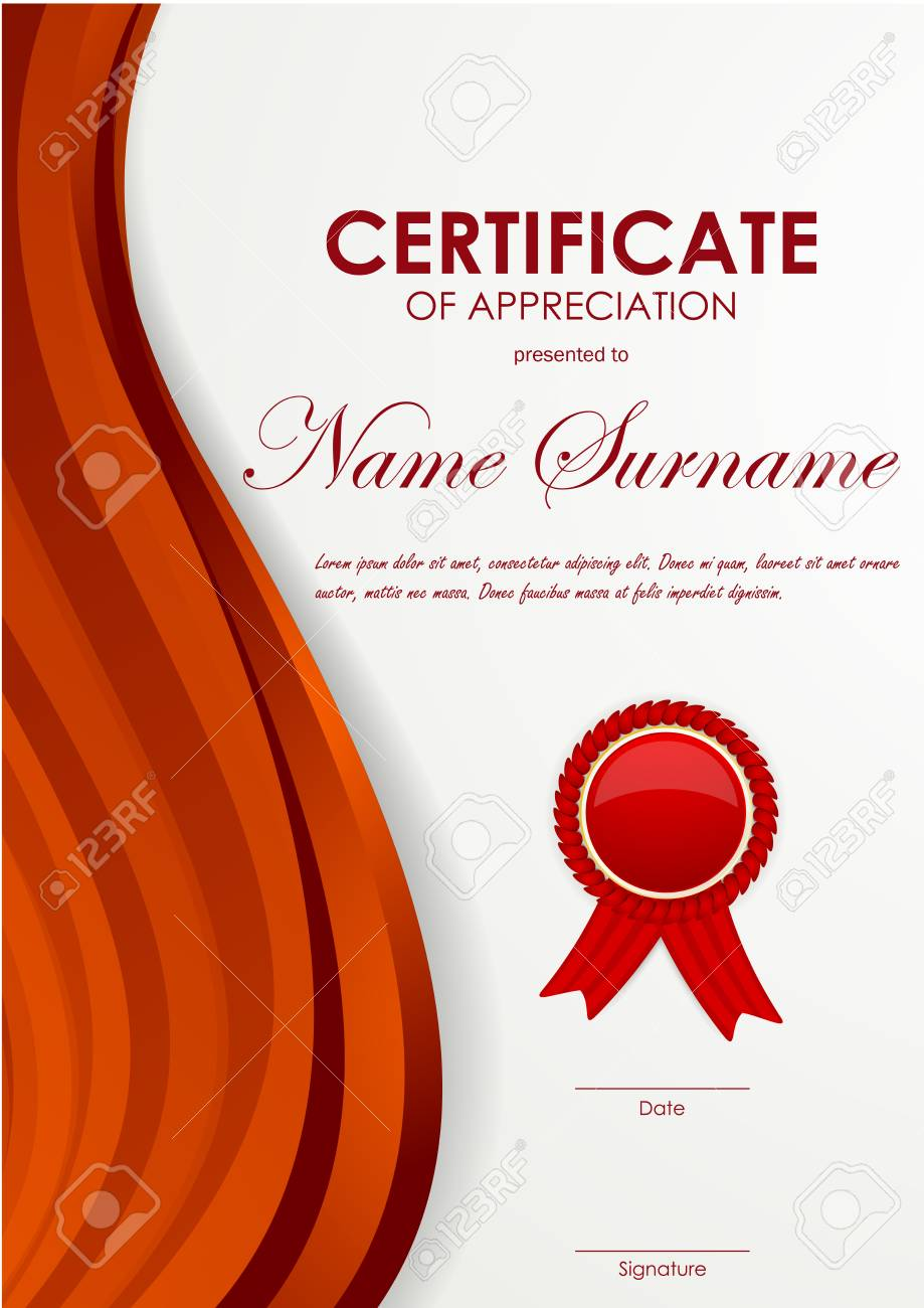 Certificate of appreciation template with dynamic red swirl wavy certificate of appreciation template with dynamic red swirl wavy background and label vector illustration stock yelopaper Image collections