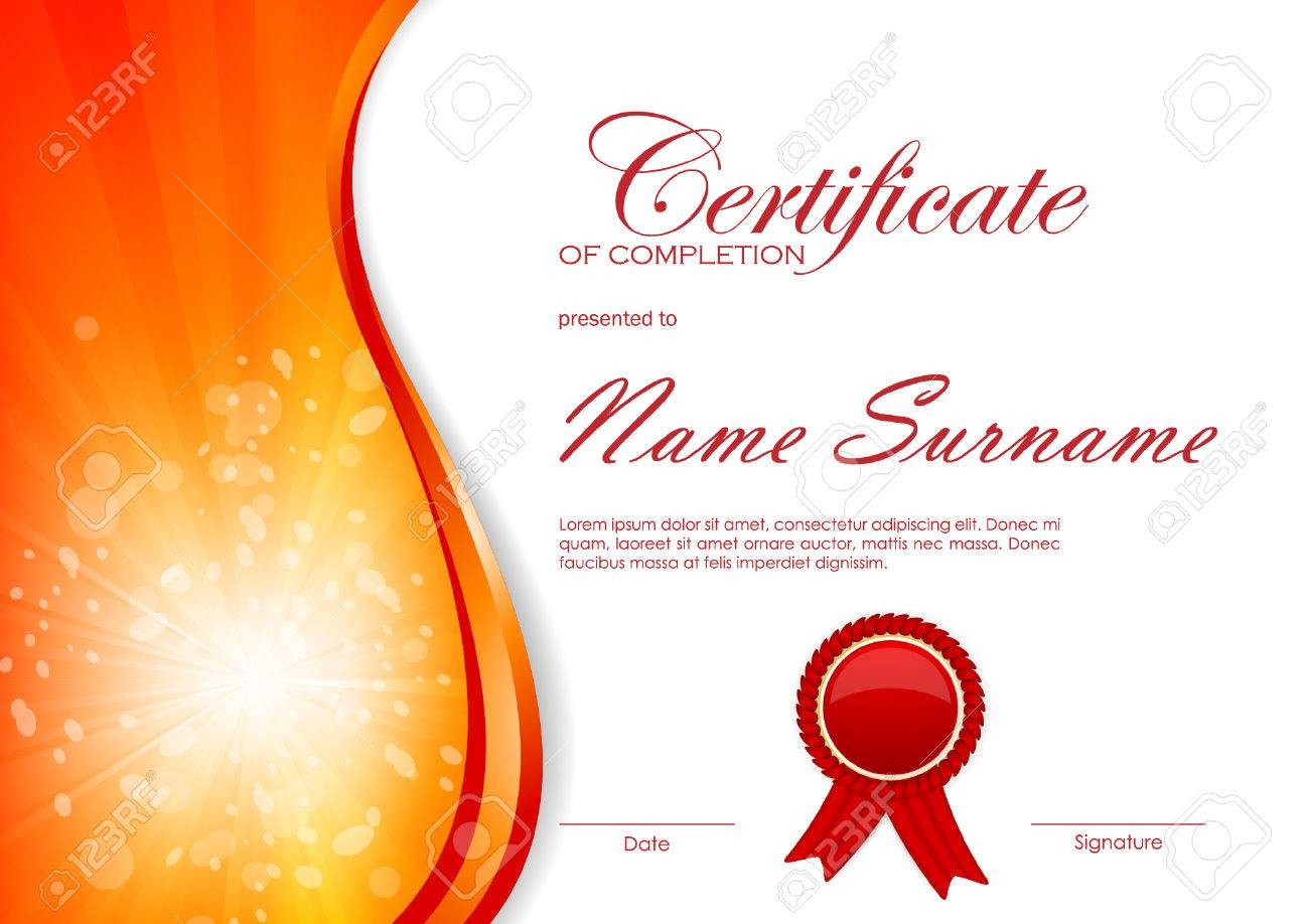 Certificate of completion template with dynamic red bright wavy certificate of completion template with dynamic red bright wavy swirl background and label vector illustration yadclub Images