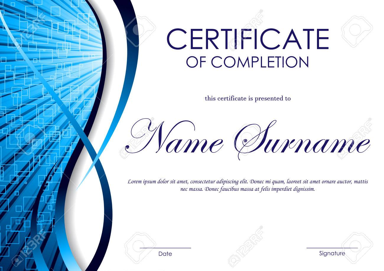 Certificate of completion template with blue digital wavy swirl certificate of completion template with blue digital wavy swirl square surface background vector illustration stock yadclub Gallery
