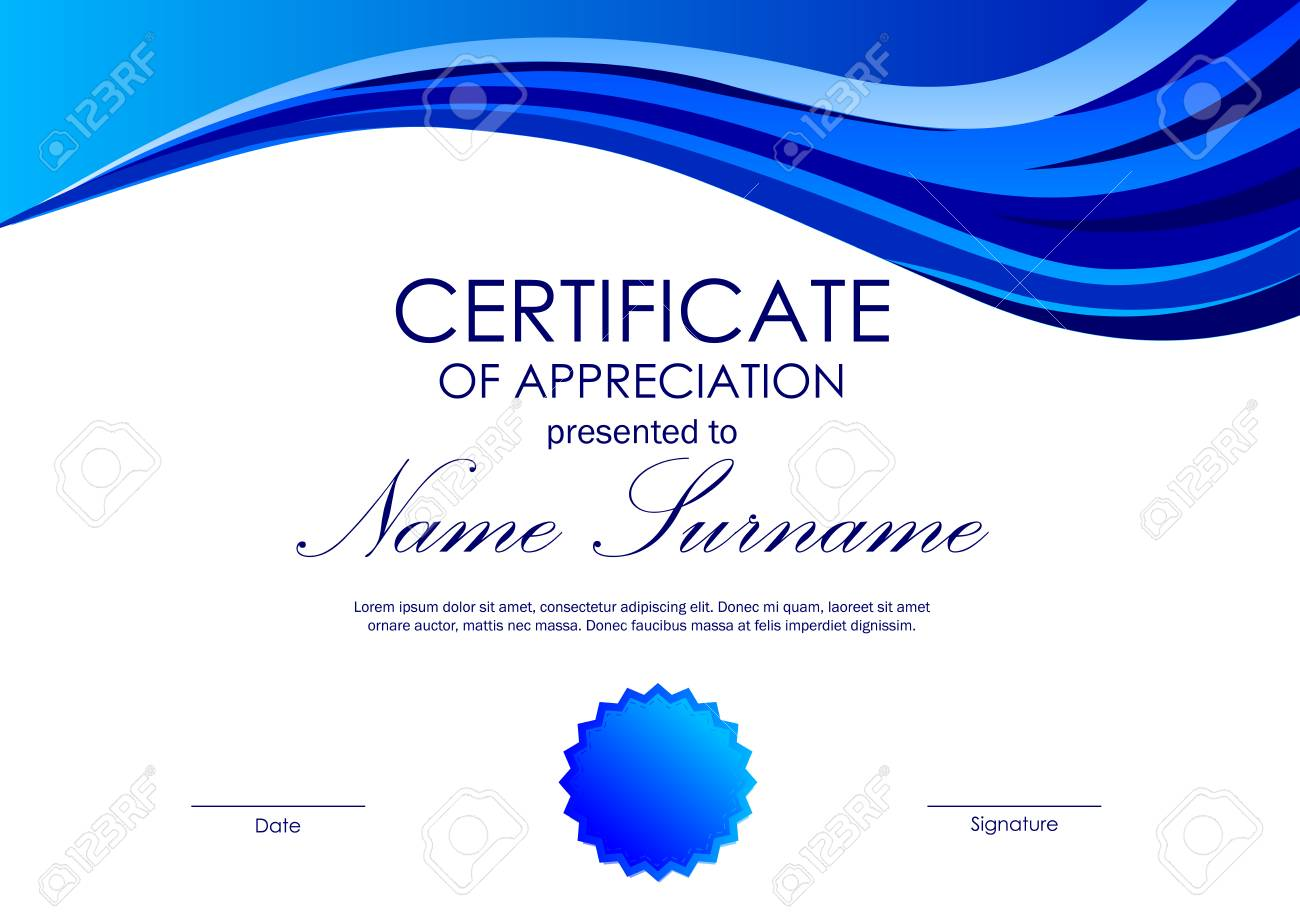 Certificate of appreciation template with blue wavy background certificate of appreciation template with blue wavy background and seal in light style vector illustration yadclub Image collections