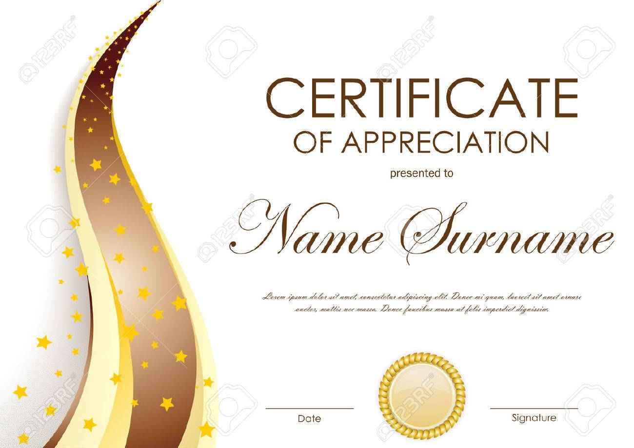 Certificate Of Appreciation Template With Gold And Brown Wavy