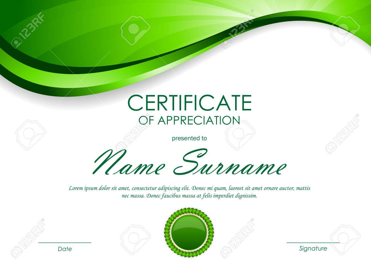 Certificate of appreciation template with green dynamic light certificate of appreciation template with green dynamic light wavy swirl background and seal vector illustration yadclub Choice Image