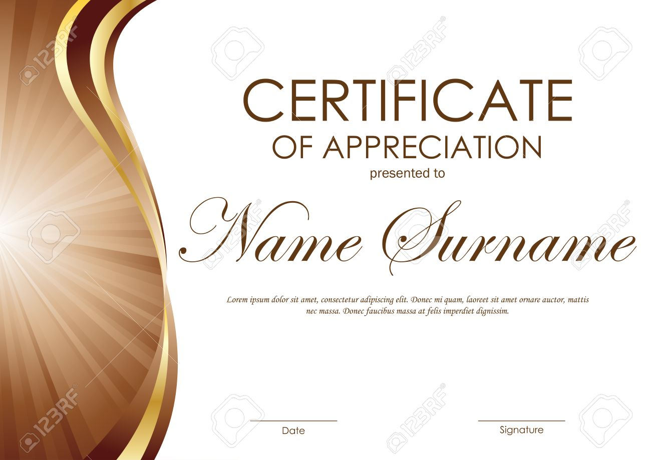Certificate of appreciation template with brown and gold wavy certificate of appreciation template with brown and gold wavy curved swirl background vector illustration stock yadclub Image collections