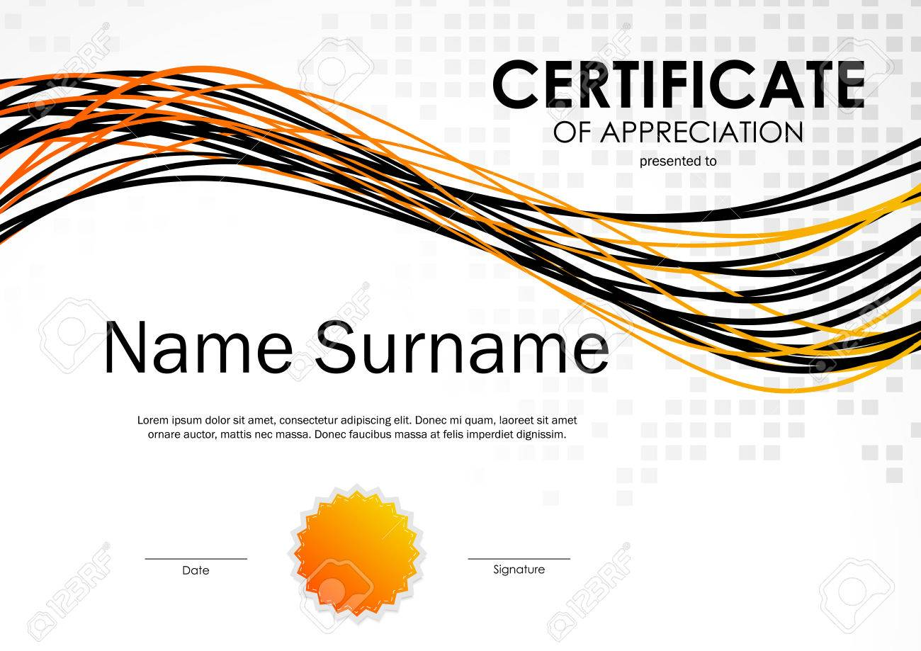 Certificate of appreciation template with square mosaic surface vector illustration certificate of appreciation template with square mosaic surface orange and black wavy lines dynamic background yadclub Gallery