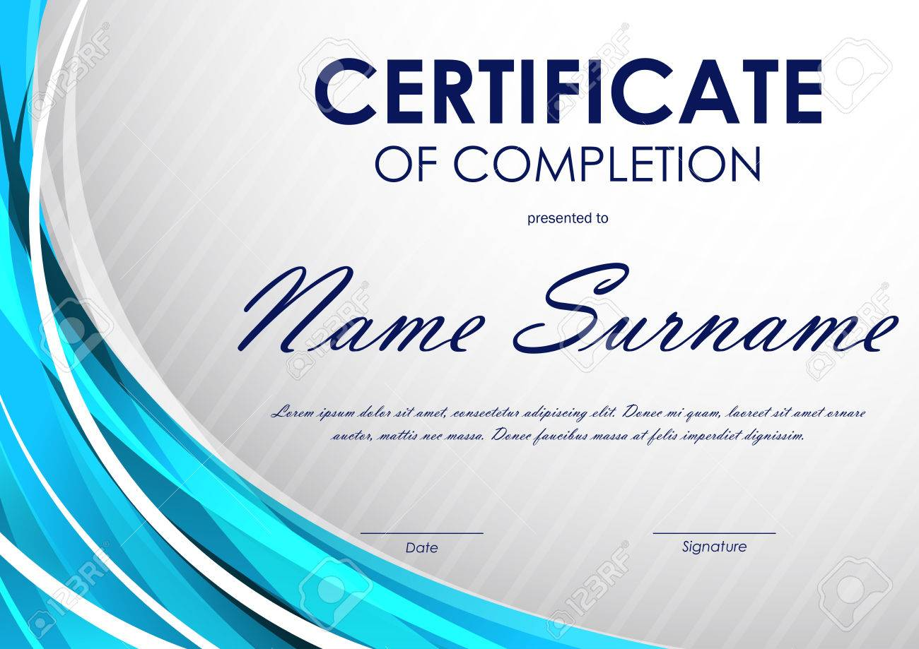 Certificate of completion template with gray slanting stripes certificate of completion template with gray slanting stripes pattern and blue light wavy background vector yadclub Gallery