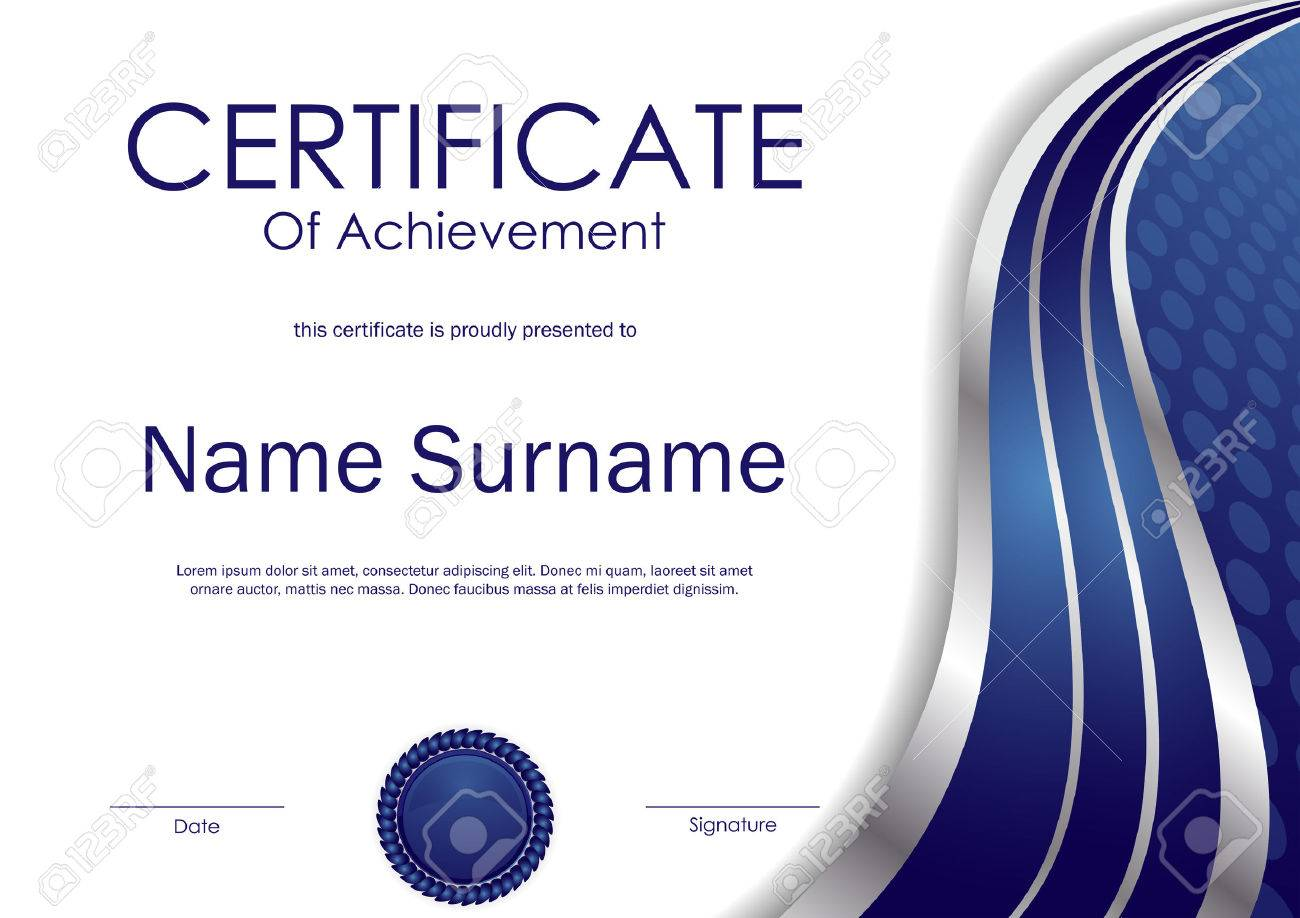 Certificate Of Achievement Template With Blue And Silver Wavy ...