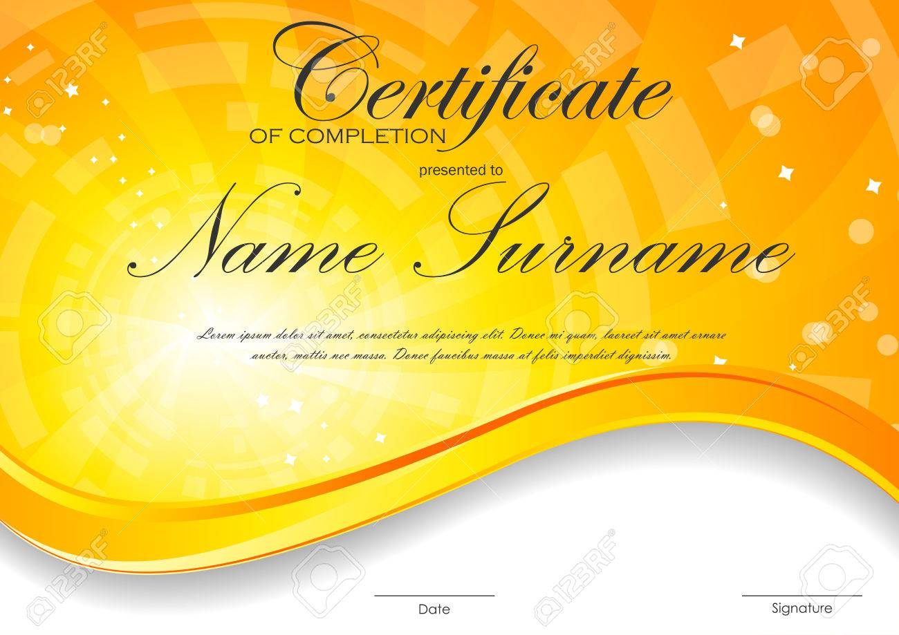 Certificate of completion template with digital orange light certificate of completion template with digital orange light wavy swirl background vector illustration stock vector yadclub Images