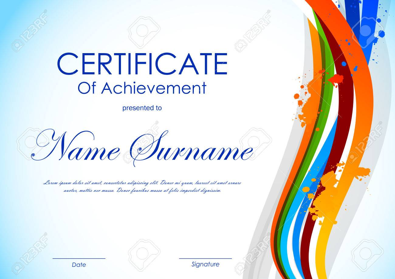 Certificate Of Achievement Template With Colorful Light Wavy ...