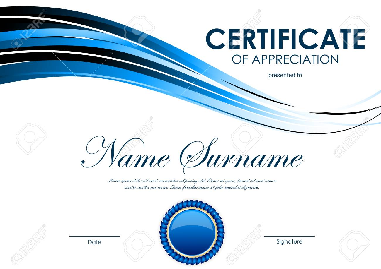 Certificate Of Appreciation Template With Blue Bright Curve Wavy ...