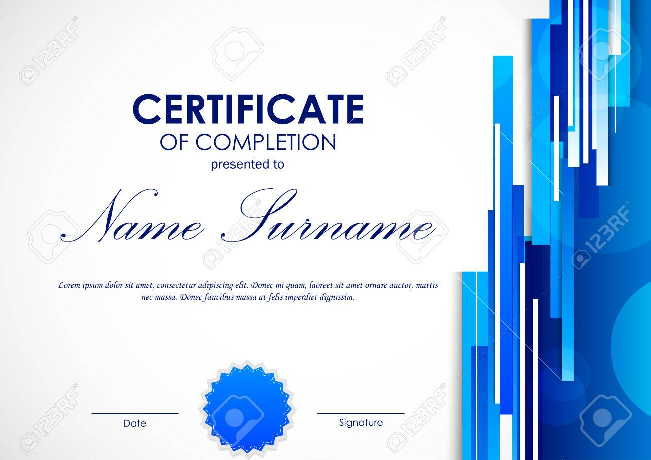 Certificate of completion template with digital blue light certificate of completion template with digital blue light straight lines background and seal vector illustration yadclub Gallery