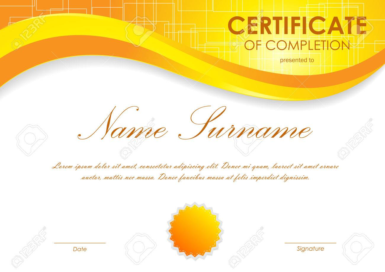 Certificate of completion template with digital orange light certificate of completion template with digital orange light wavy square surface background and seal vector yadclub Images