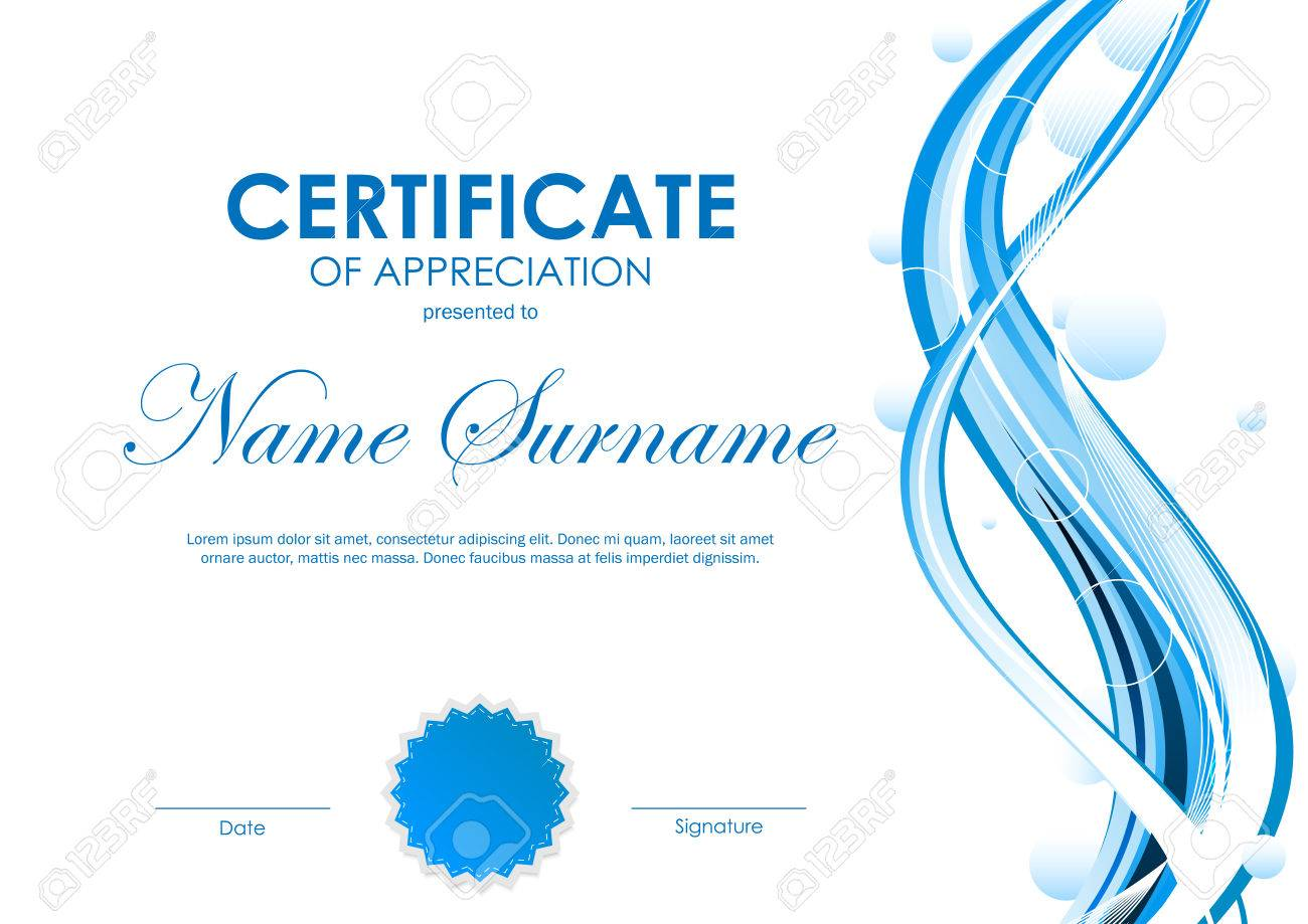 Certificate Of Appreciation Template With Blue Futuristic Dynamic ...