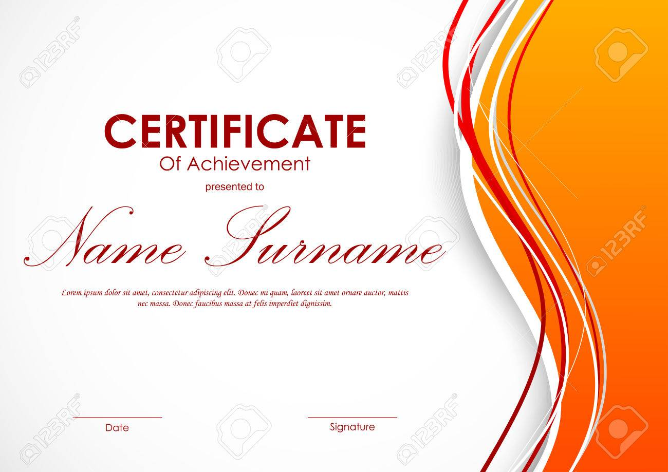 Certificate Of Achievement Template With Dynamic Light Orange ...