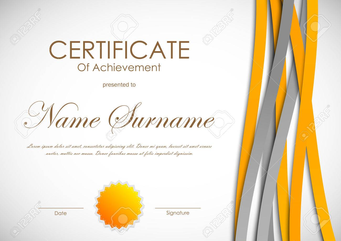 certificate of achievement template with dynamic orange and gray bent weaving wavy background and seal
