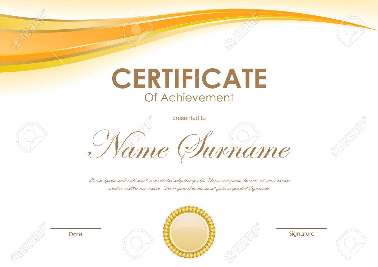 Certificate Of Achievement Template With Orange Wavy Dynamic ...