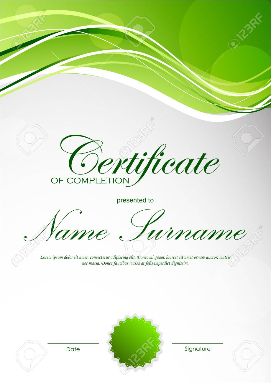 Certificate of completion template with green dynamic light wavy certificate of completion template with green dynamic light wavy background and seal vector illustration stock yadclub Choice Image