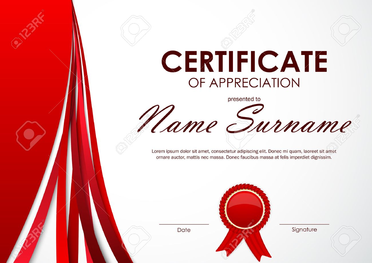 Certificate of appreciation template with paper light red dynamic certificate of appreciation template with paper light red dynamic background and label vector illustration stock yadclub Image collections