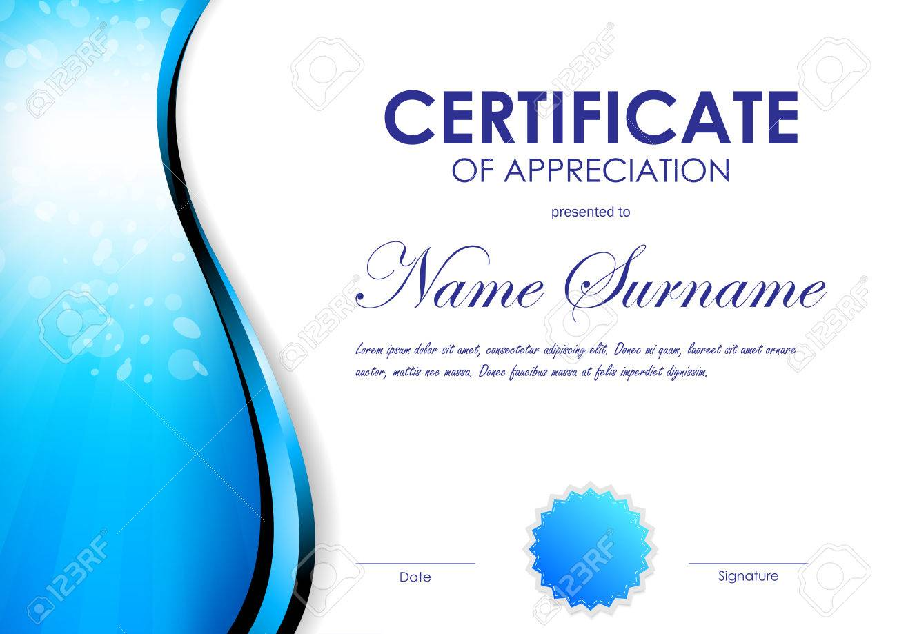 Certificate Of Appreciation Template With Blue Light Curve Wavy ...