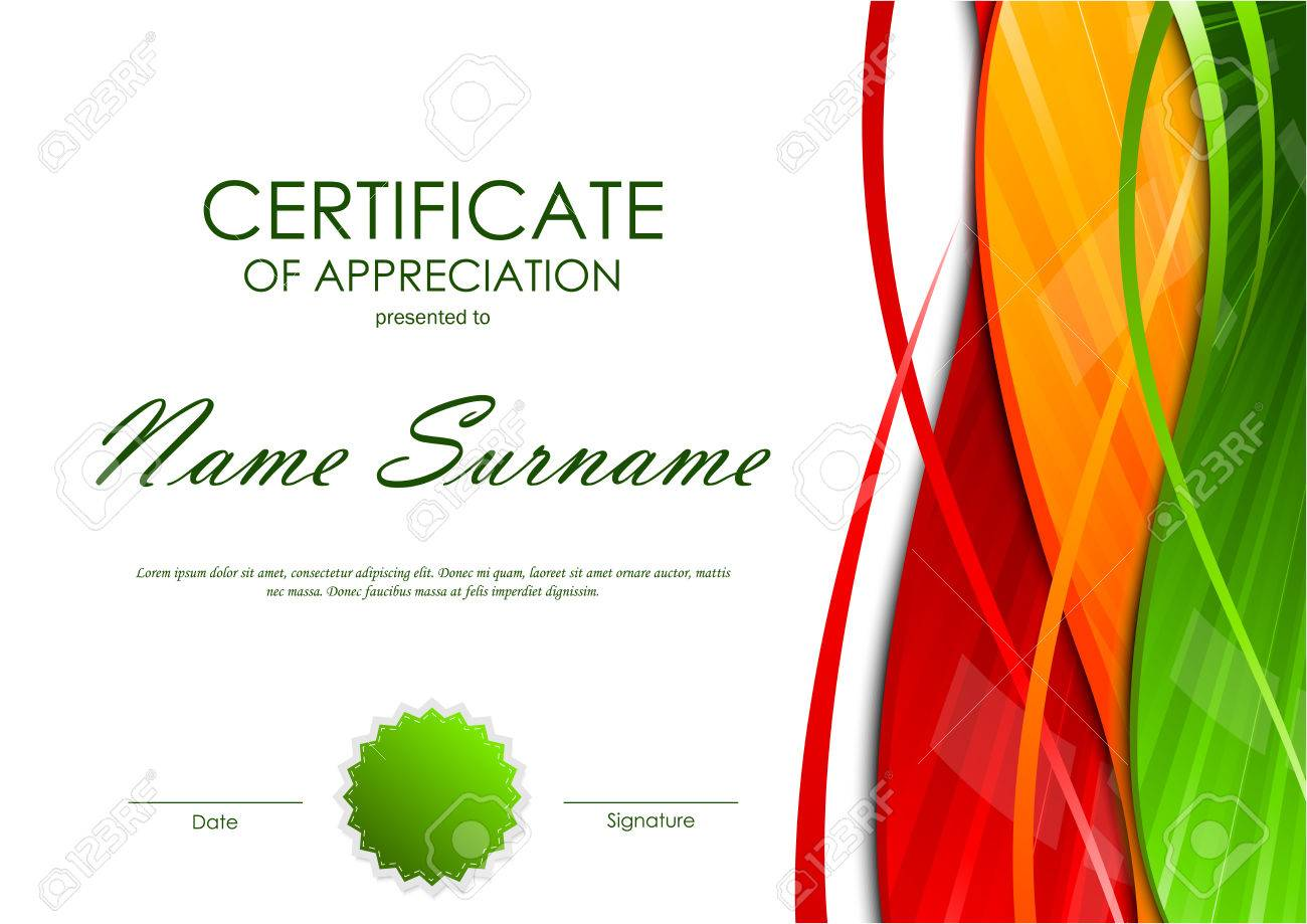 Certificate of appreciation template with colorful light wavy certificate of appreciation template with colorful light wavy swirl background and green seal vector illustration xflitez Image collections