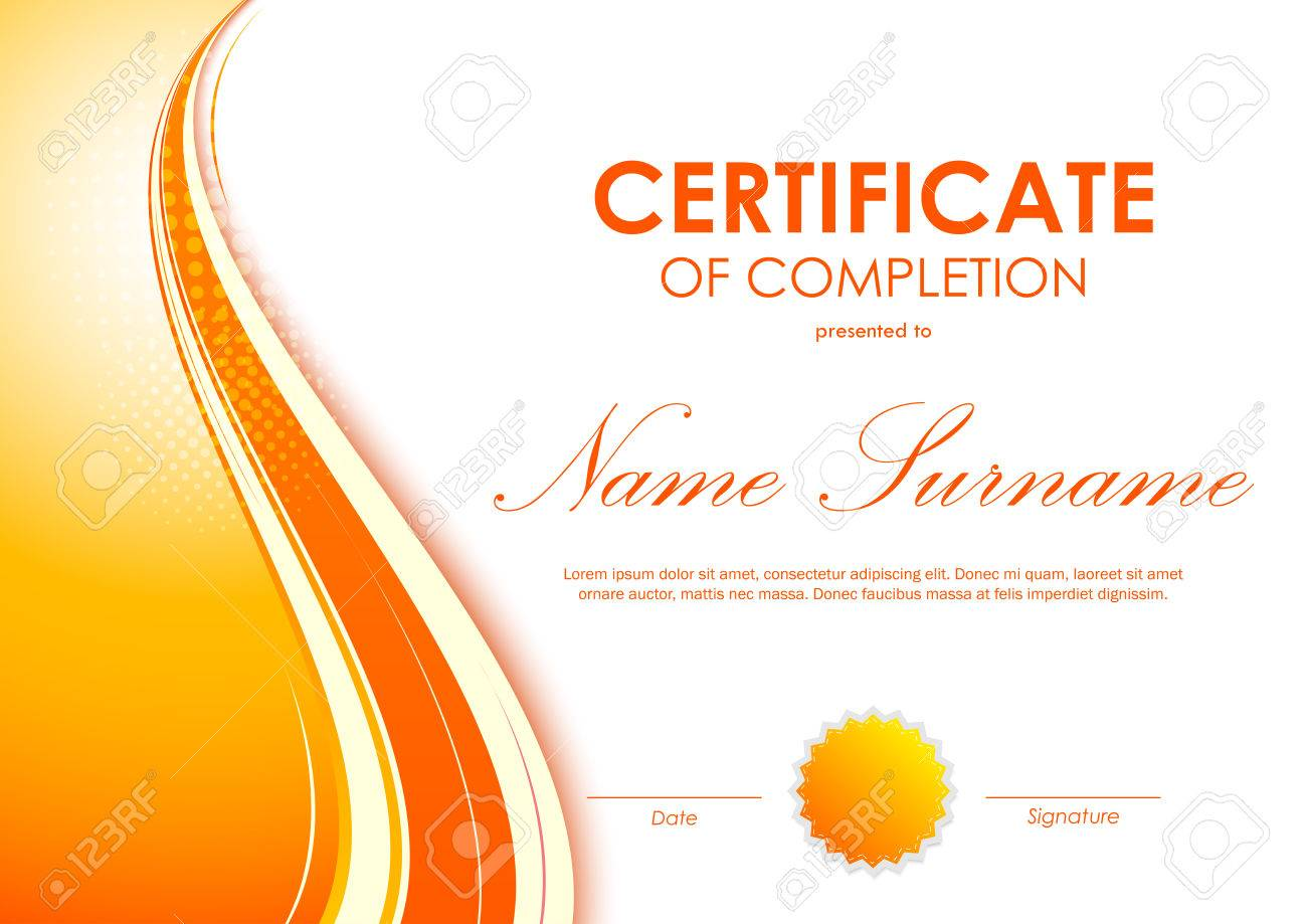 Certificate of completion template with digital vivid orange certificate of completion template with digital vivid orange wavy background and seal vector illustration stock yadclub Images