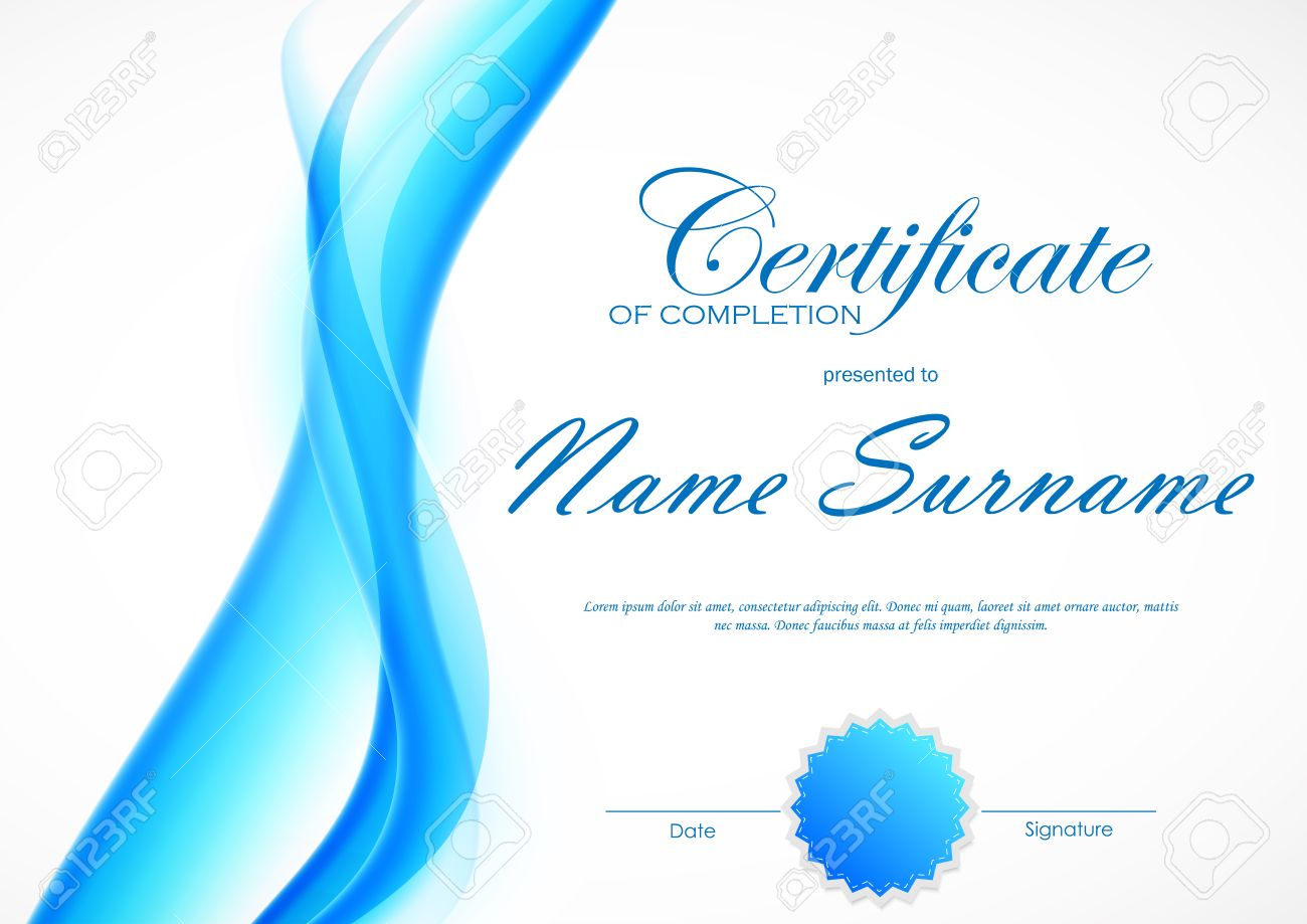 Certificate of completion template with blue dynamic light soft certificate of completion template with blue dynamic light soft wavy smoky background and seal vector yadclub Gallery