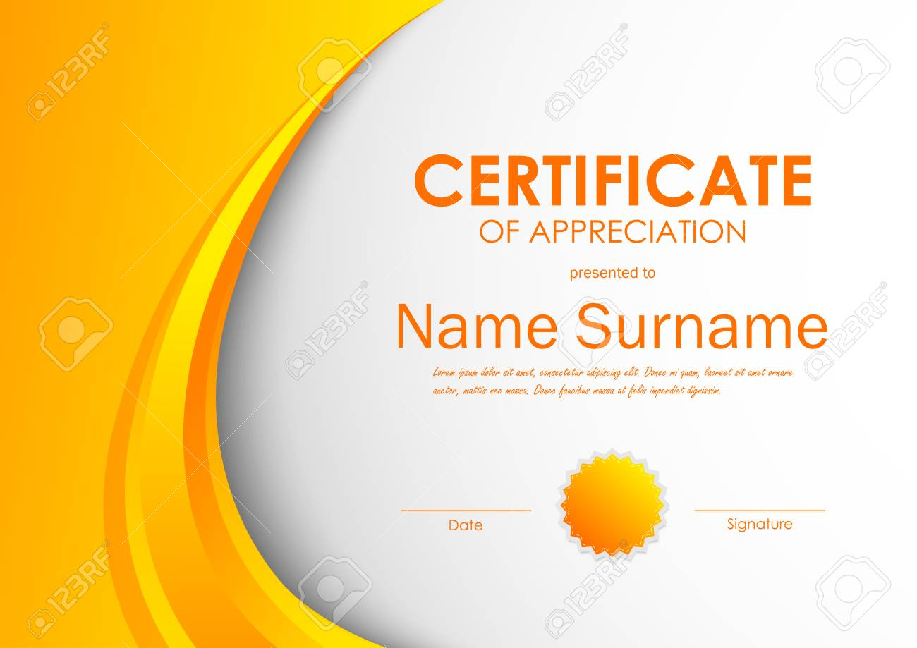 Certificate of appreciation template with orange light dynamic certificate of appreciation template with orange light dynamic wavy background and seal vector illustration stock yadclub Images