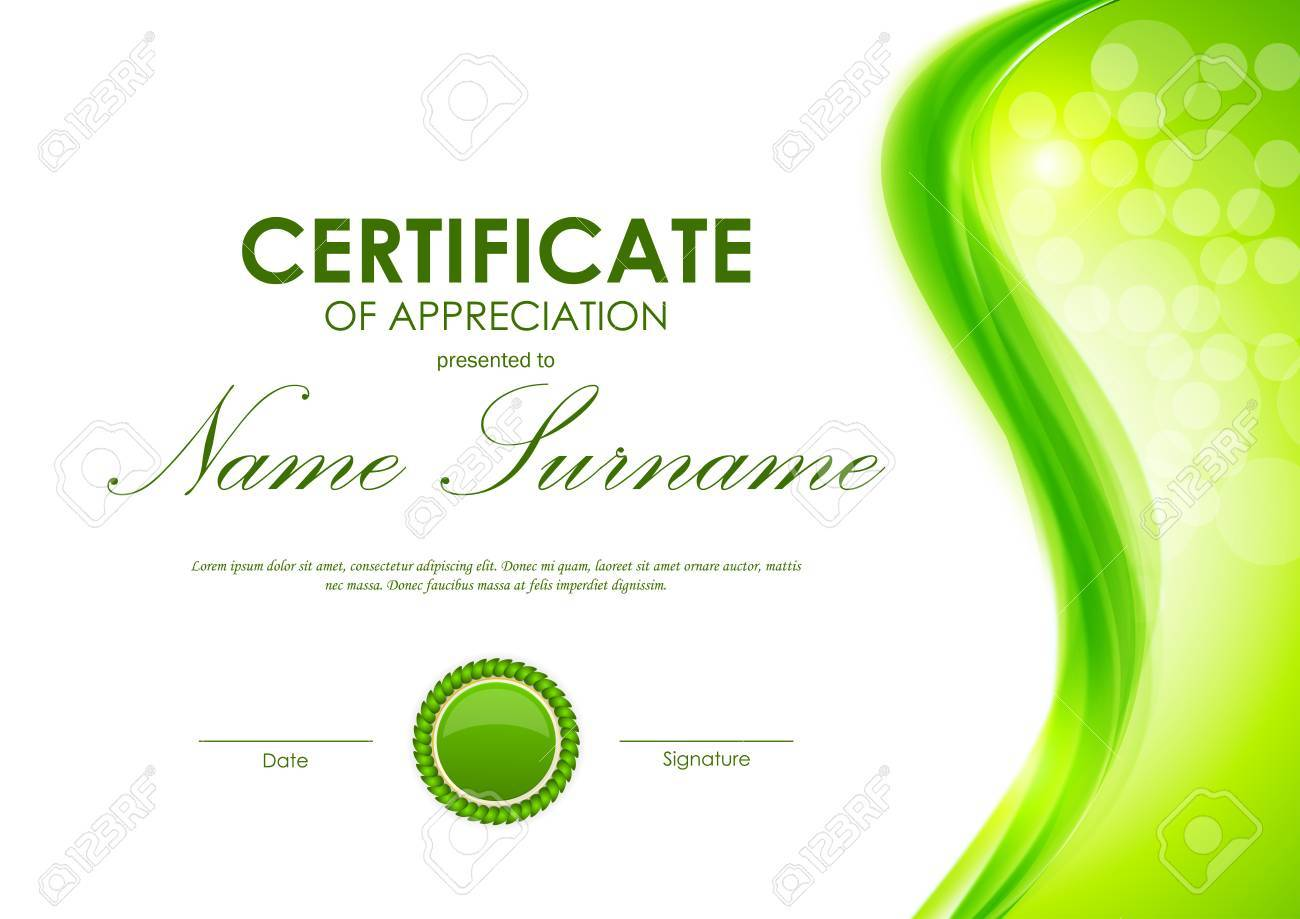 Certificate of appreciation template with dynamic green wavy certificate of appreciation template with dynamic green wavy smooth background and seal vector illustration stock yadclub Image collections