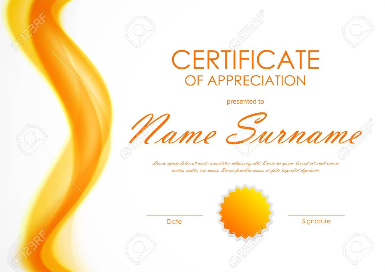 certificate of appreciation template with orange bright soft