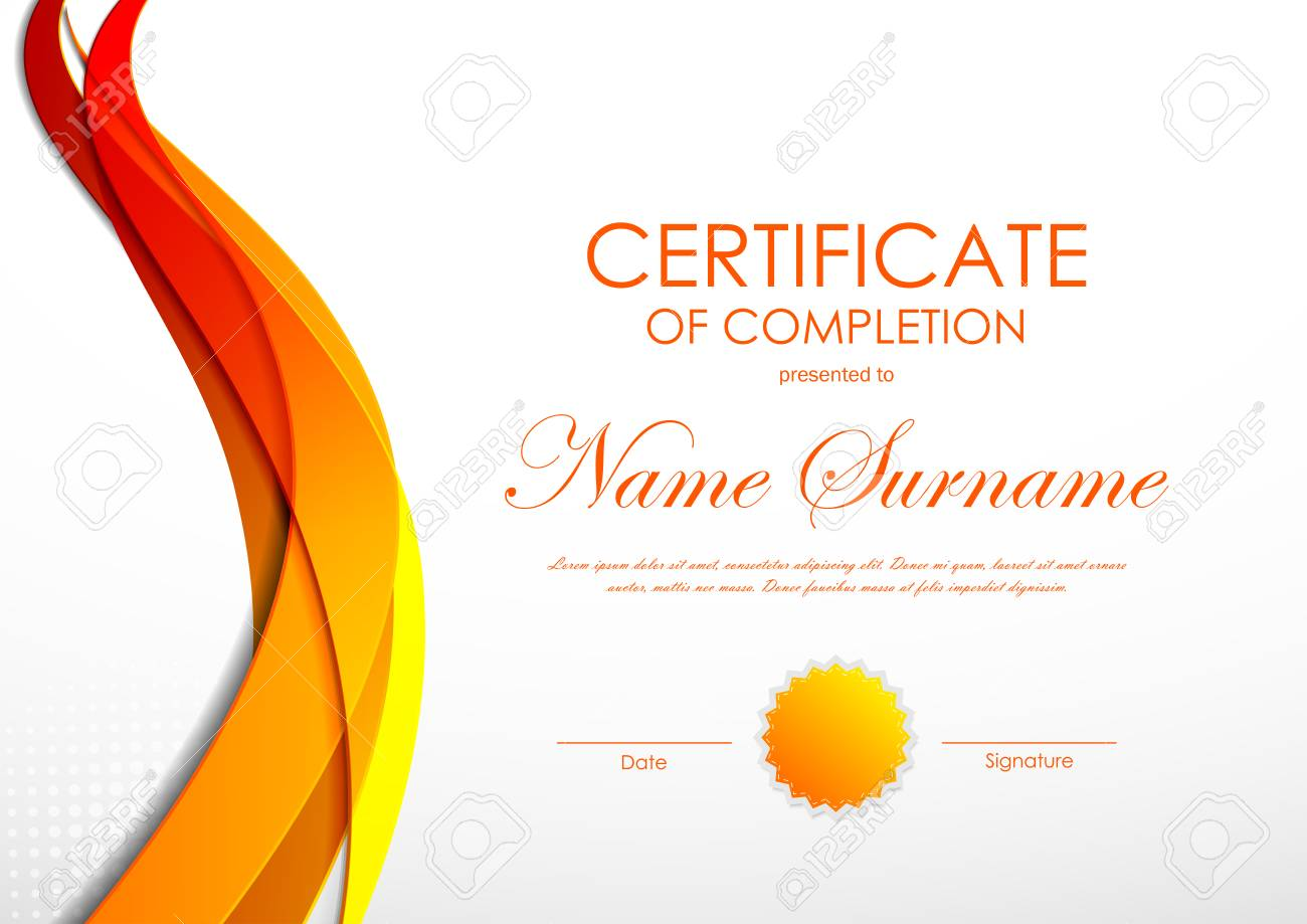 Certificate of completion template with orange digital bent wavy certificate of completion template with orange digital bent wavy background and seal vector illustration stock yadclub Images