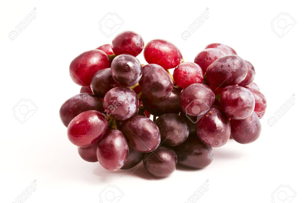 A bunch of fresh red grapes on a clean white background Stock Photo - 2983843
