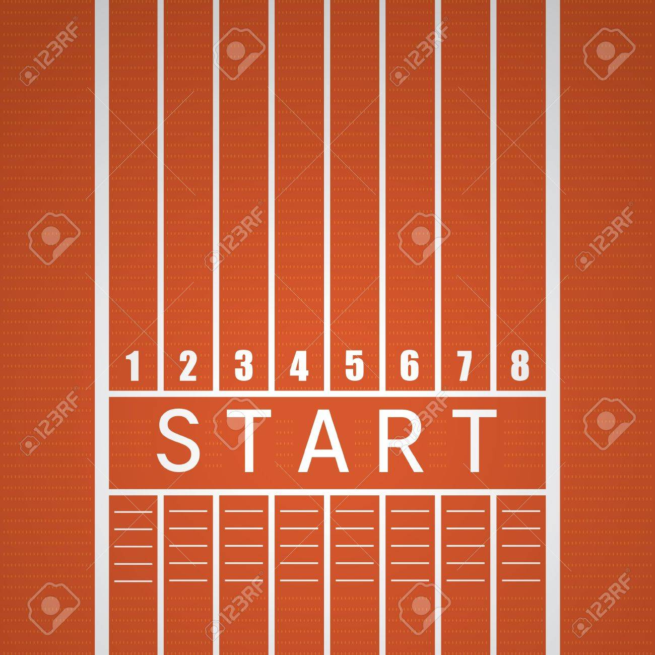 Start track  line on a red running track. Stock Vector - 14445497