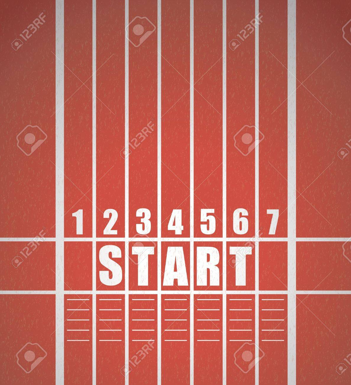 Start track  line on a red running track Stock Vector - 14596143
