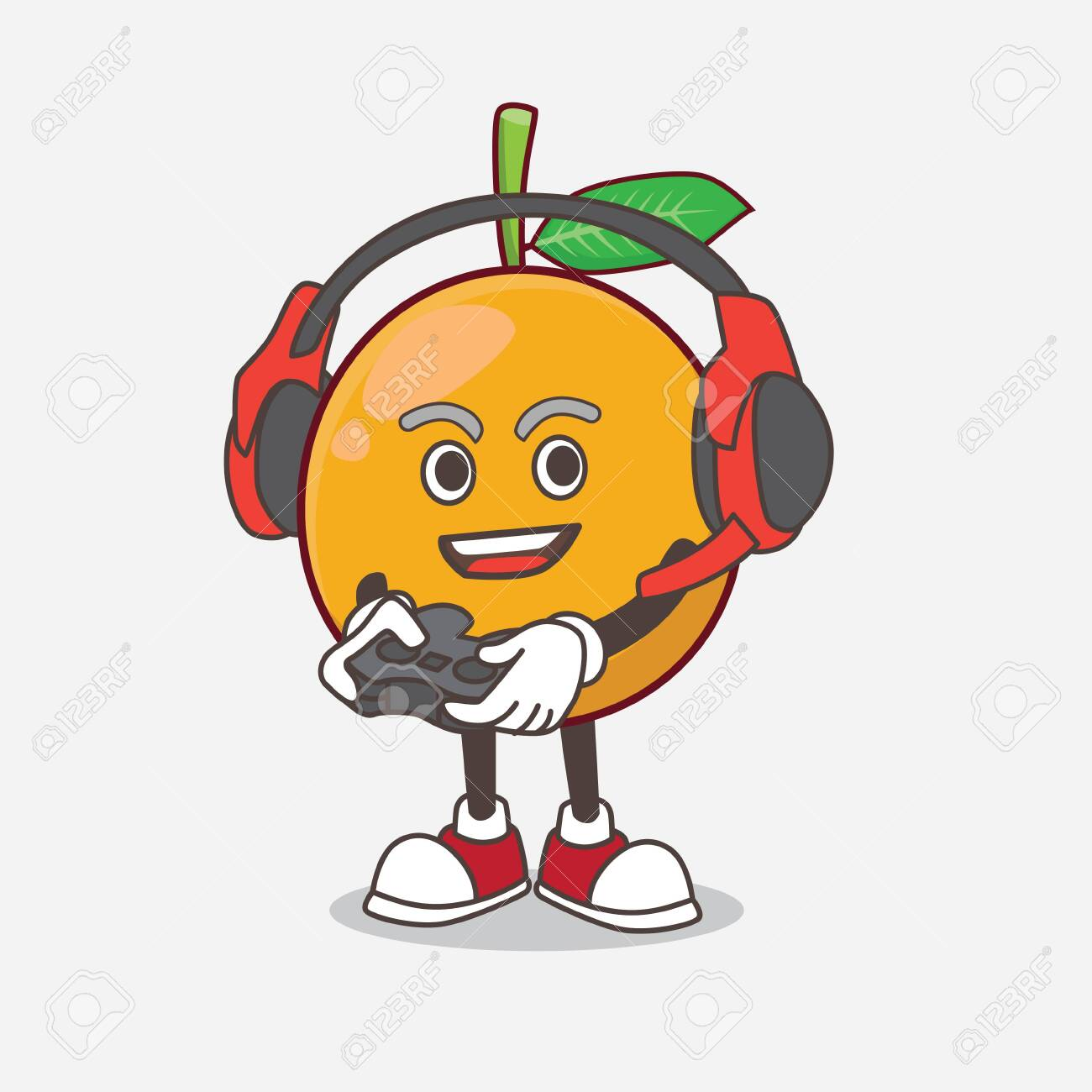 A Picture Of African Mangosteen Cartoon Mascot Character Play