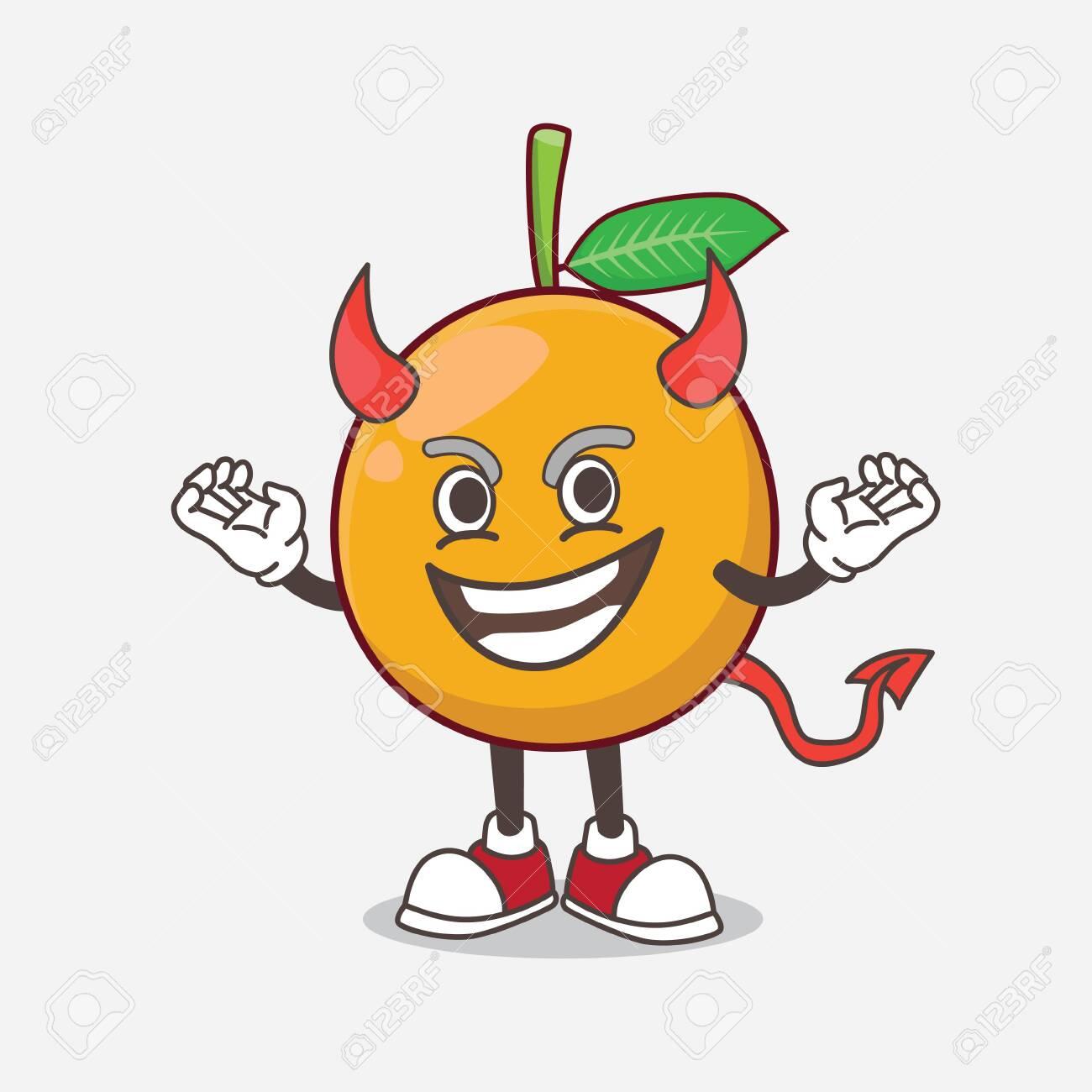 African Mangosteen Cartoon Mascot Character As Cruel Devil Royalty