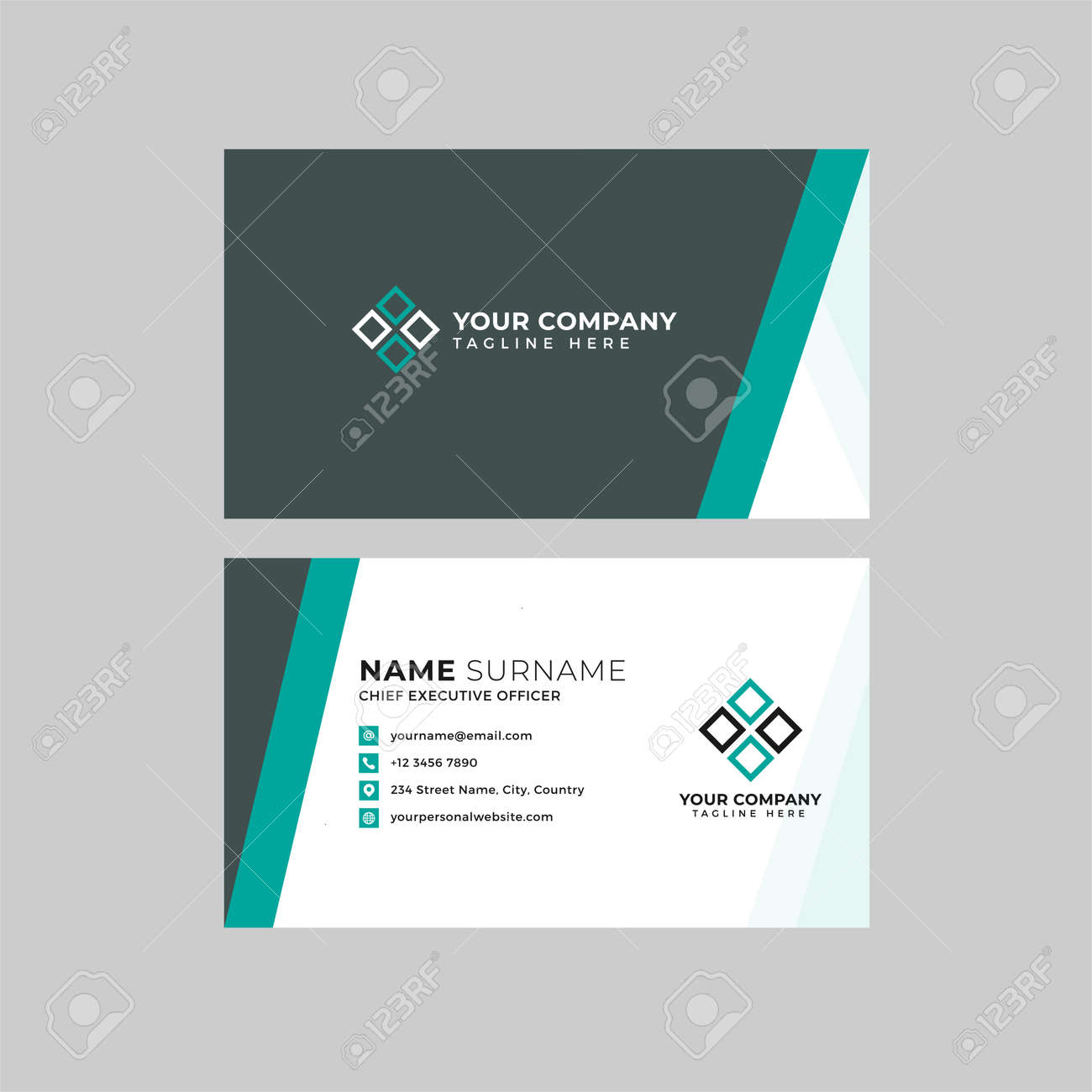 Professional two sided business card vector template with logo place holder, name, address, phone number, website and email - 168682834
