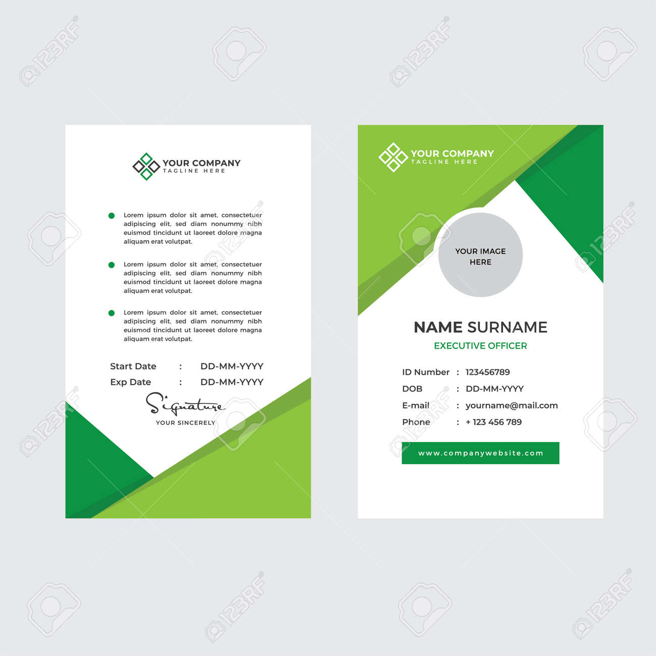 Premium Employee ID Card with Photo Placeholder, Name, Position and Company Profile Template Vector - 168723845