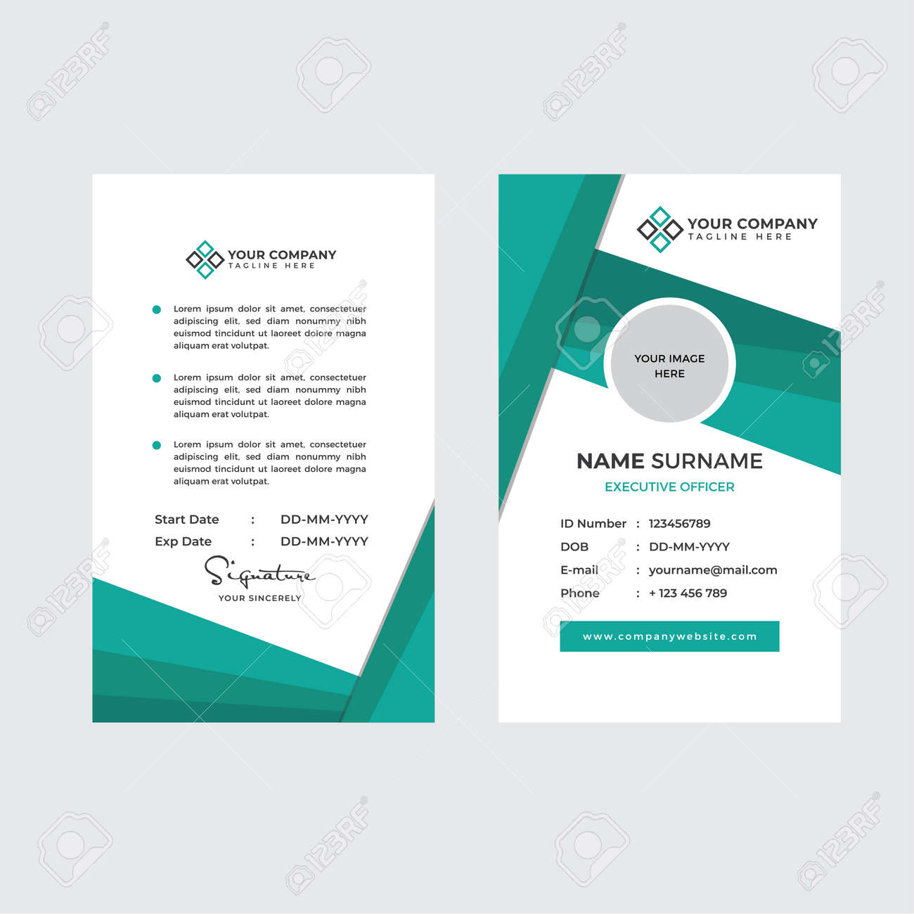 Premium Employee ID Card with Photo Placeholder, Name, Position and Company Profile Template Vector - 168723846