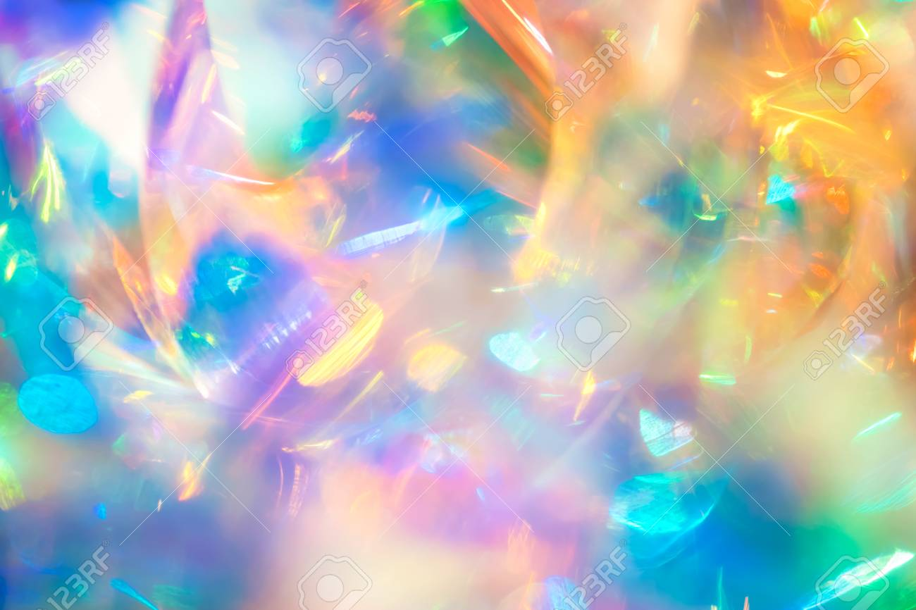 Abstract night club party poster background image of multicolored holographic foil with blue green and gold shiny bokeh light effect and dynamic motion blur - 91782002