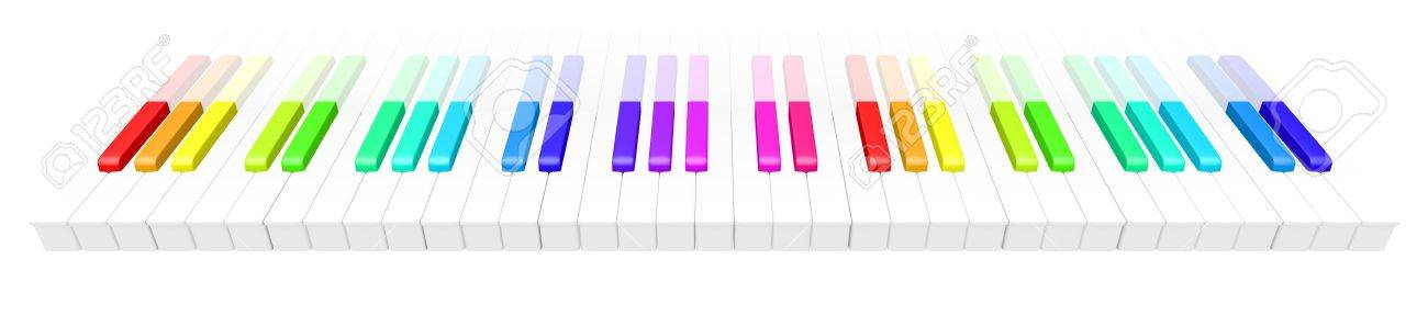 abstract 3d illustration of colorful piano keyboard over white background. Fun rainbow colored piano keyboard. Stock Photo - 9375200