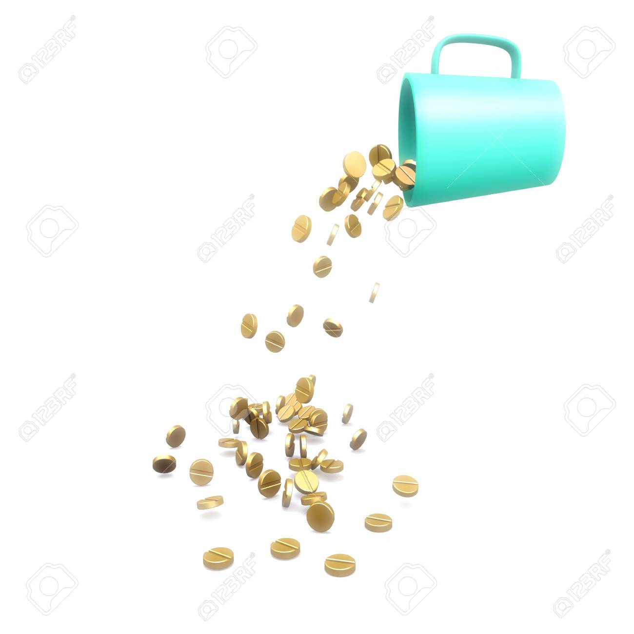 Gold tablets fall from a green mug Stock Photo - 11824522