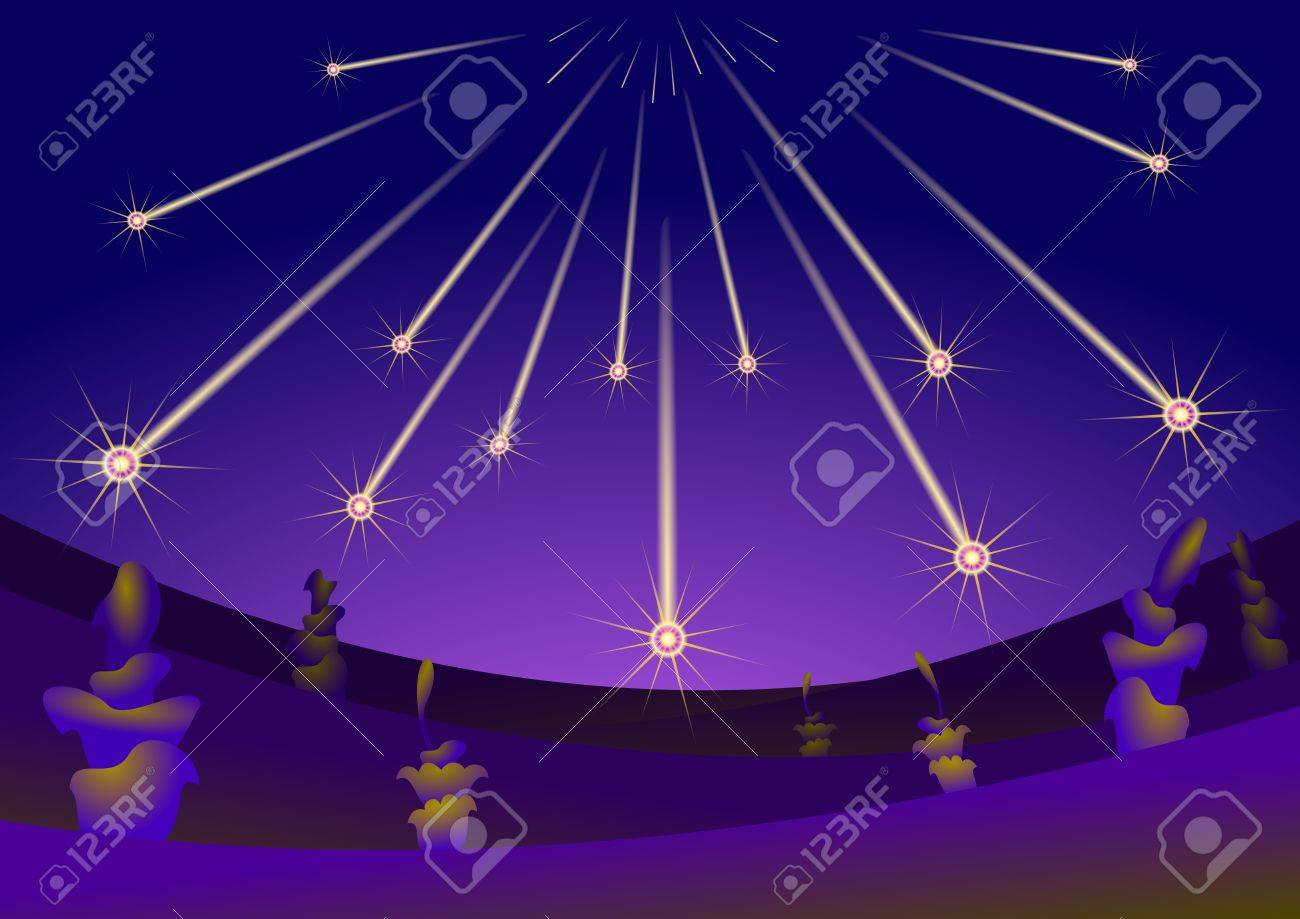 Asteroids fall on alien planet. Stock Vector - 12494357