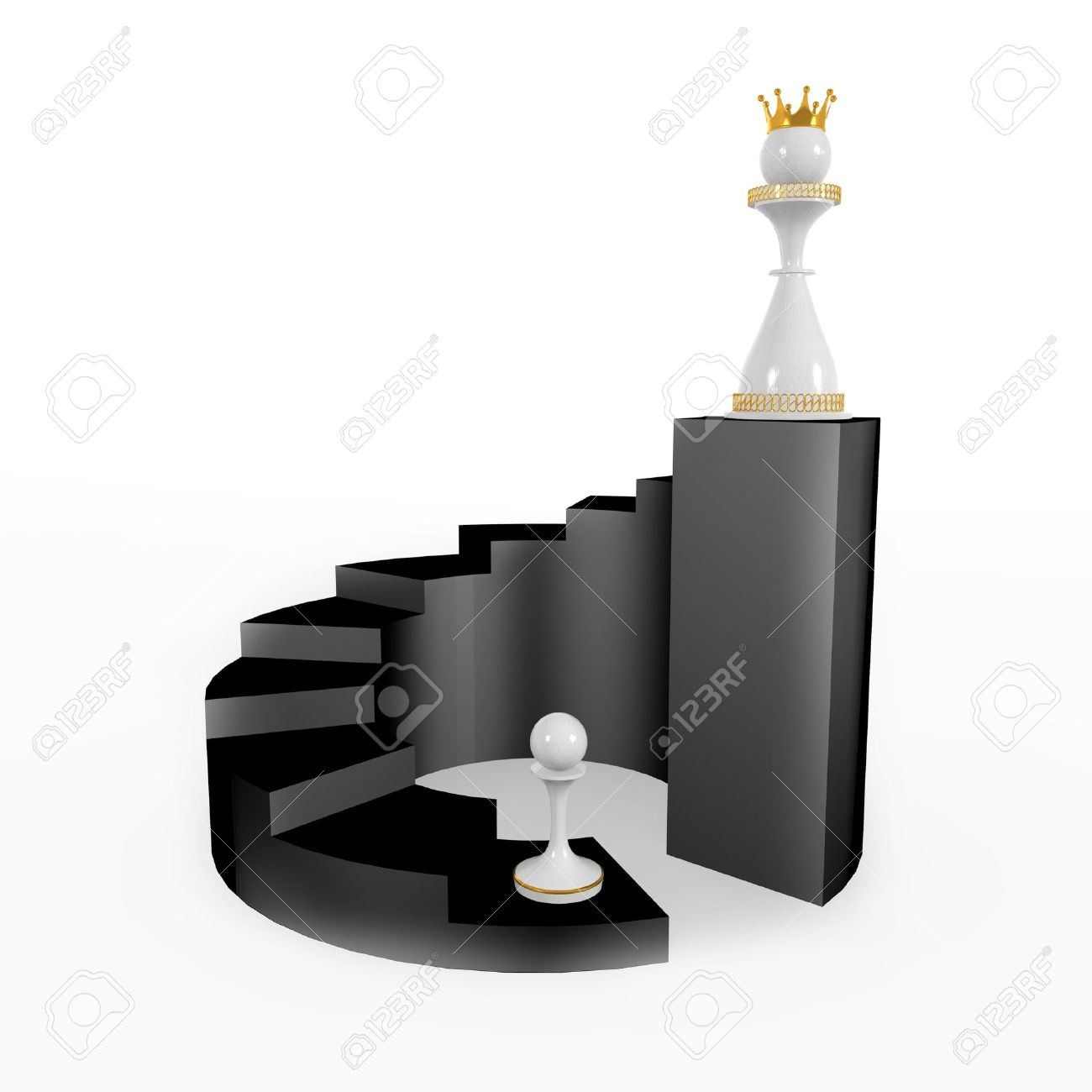 pawn becomes a queen. walks upstairs, career and success Stock Photo - 13661560