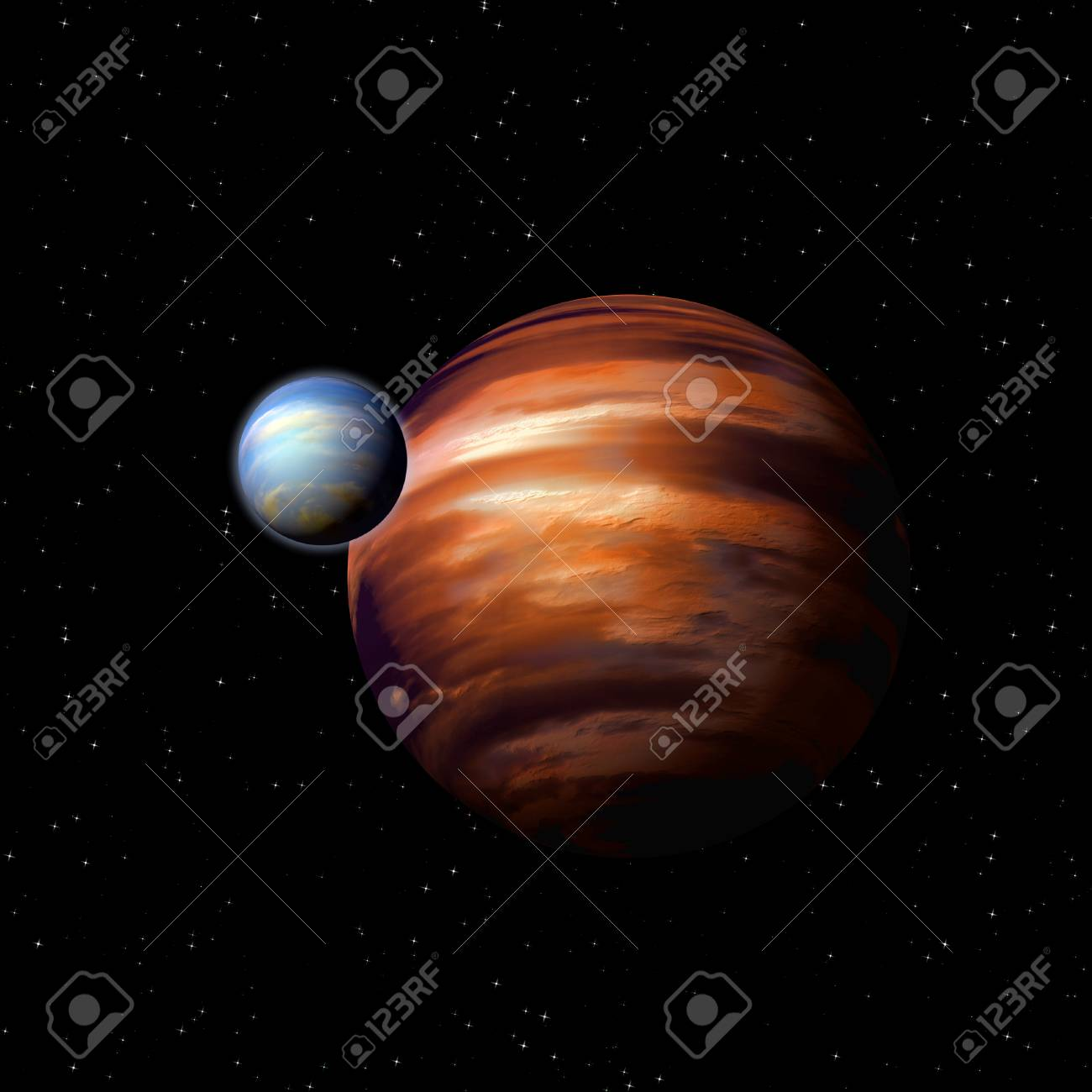 Planets in deep space, abstract sci-fi illustration Stock Photo - 24691476