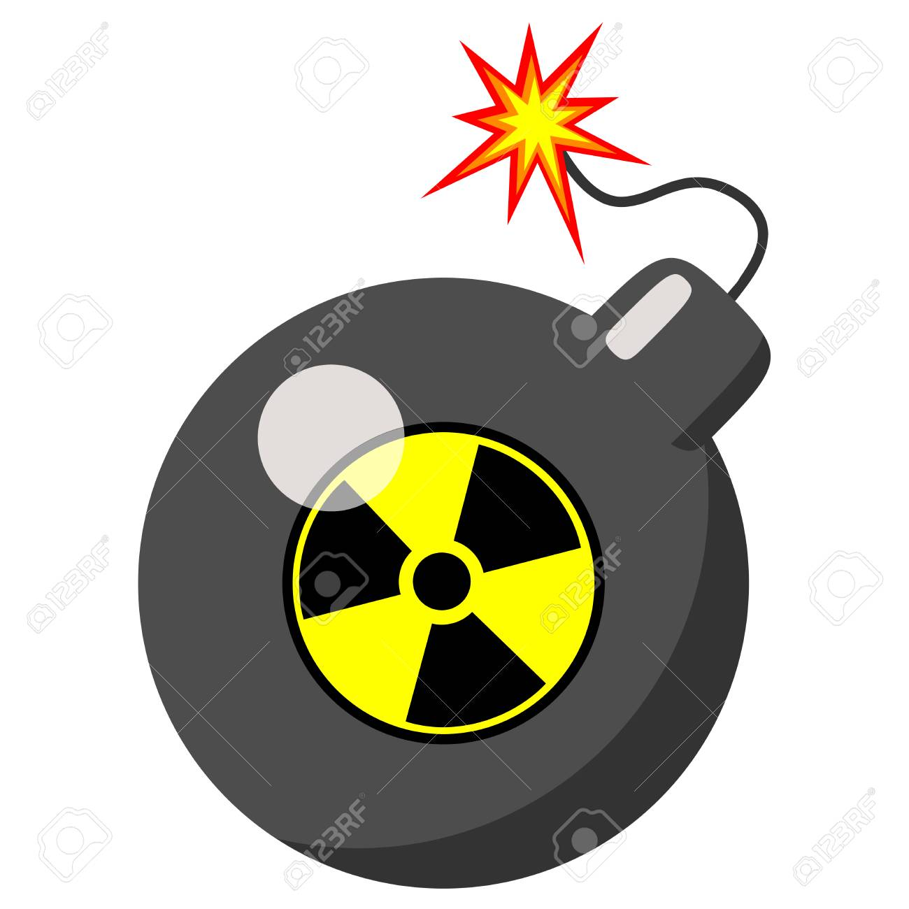 atomic bomb isolated on a white background vector illustration rh 123rf com Atomic Bomb Explosion Cartoon atomic bomb clipart