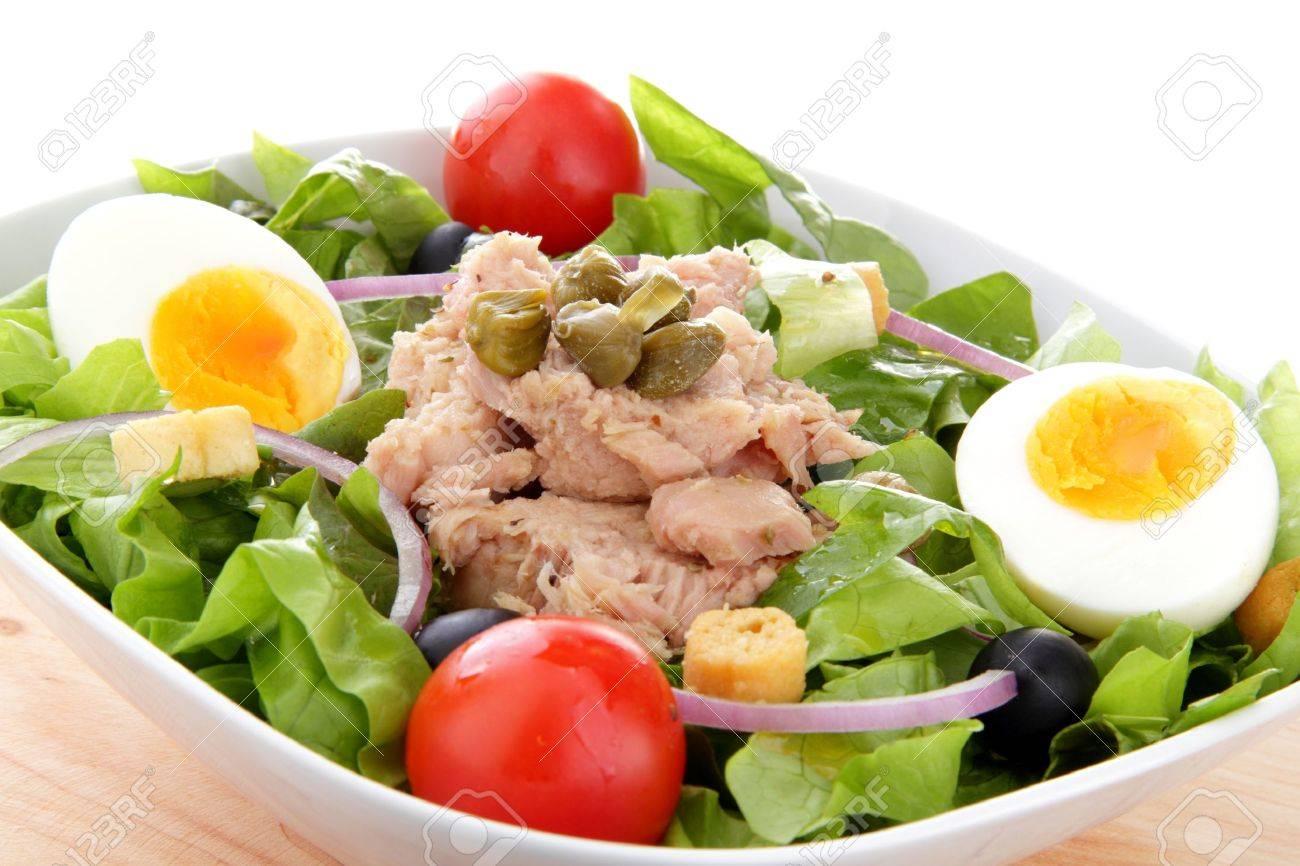 mediterranean salad whit tuna end egg - 12076628