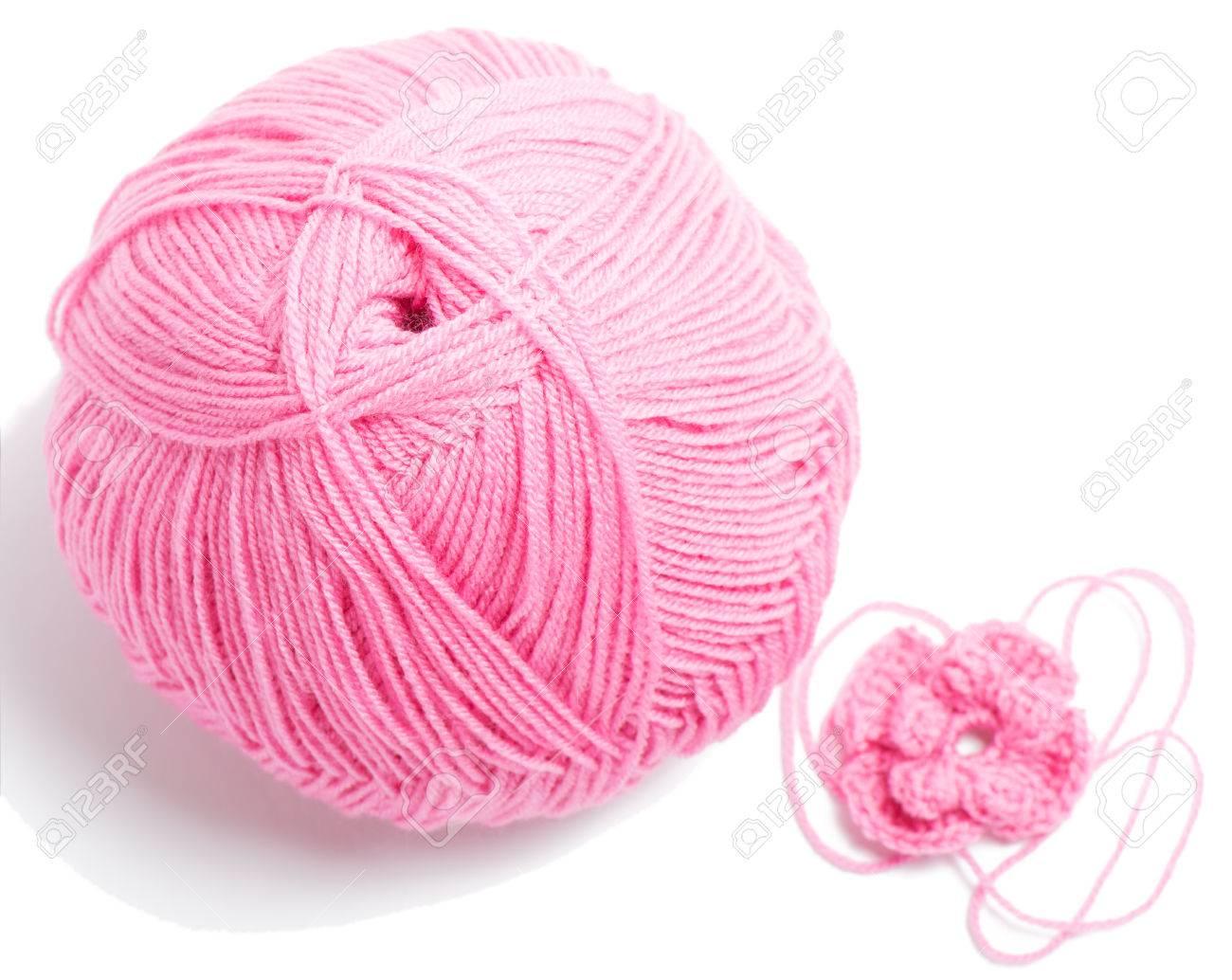 Bola De Hilo De Color Rosa Para Hacer Punto Y Ganchillo Flor De ...