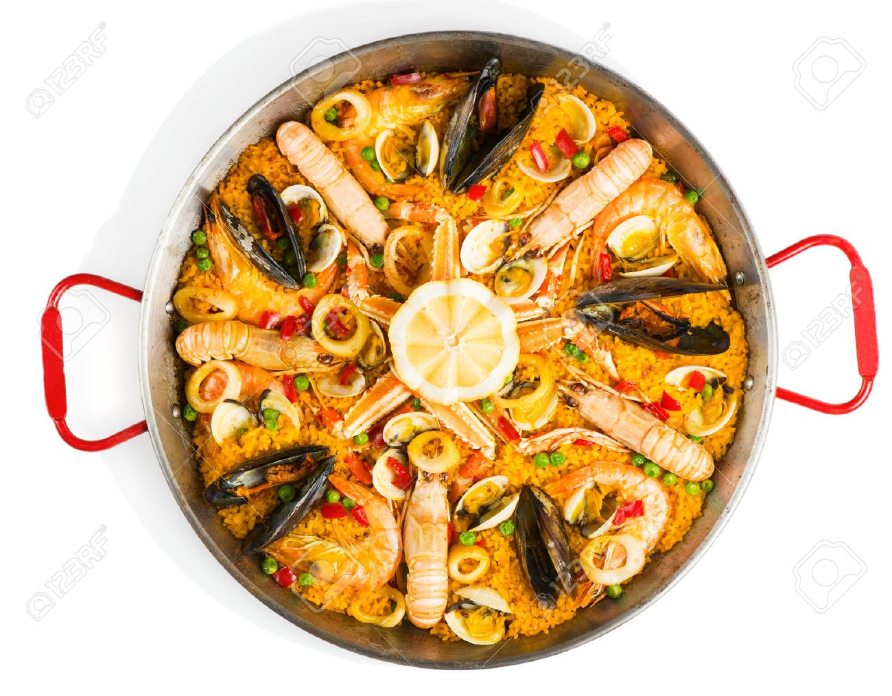Dessin Paella top view of typical spanish seafood paella in traditional pan