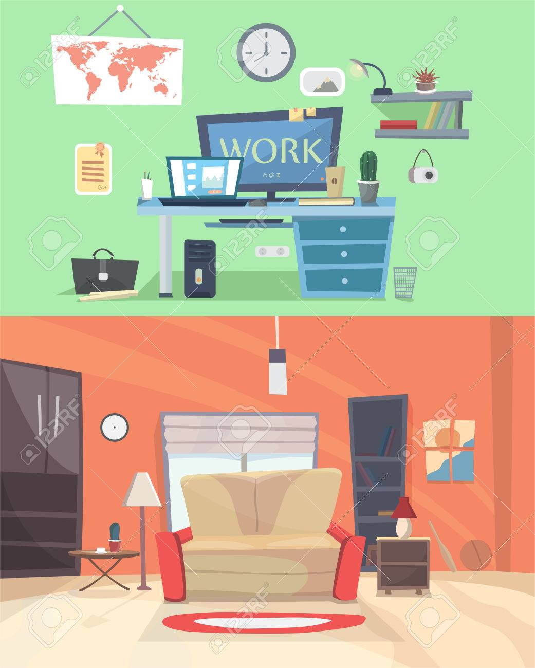 Ensemble De Chambres De Maison De Design D Interieur Vecteur Colore